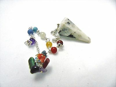 Rainbow Moonstone Pendulum Dowsing Reiki Crystal Healing 7 Stones Chakra Balance