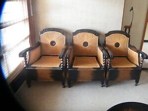 1920 s Timber and Rattan Jacobean Lounge Suite Setting Hobart CBD Hobart City Preview