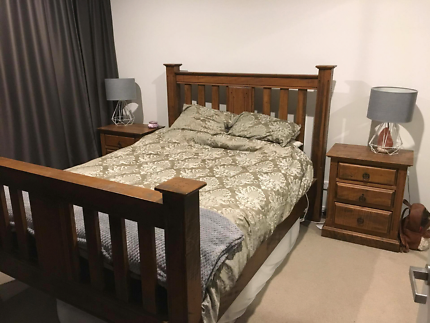 Solid wood queen size bed with quality mattress
