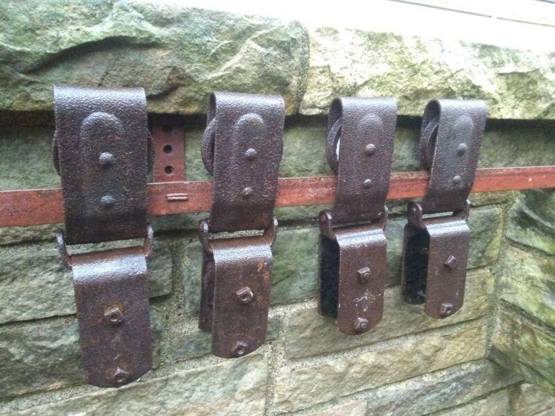 """Antique Vintage Barn Door Rollers x 4 & 16"""" Track"""