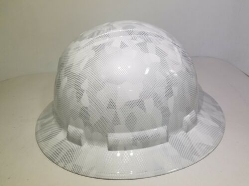 FULL BRIM Hard Hat custom hydro dipped, NEW  MILITARY ANTARCTICA DIGITAL CAMO  3