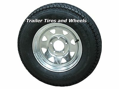 "205/75D14 LRC ET Bias Trailer Tire on 14"" 5 Lug Galvanized Spoke Wheel F78-14"