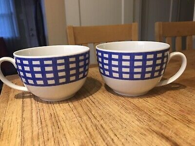 2 Guy Degrenne Hungary Porcelain 16 Oz Cups Pareo Stripes and Checks Blue MINT