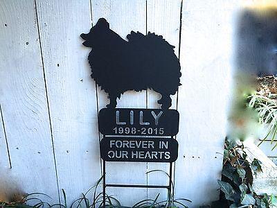 Pomeranian Dog Pet Memorial Metal Sign Memorials Grave Marker Garden Signs Stake