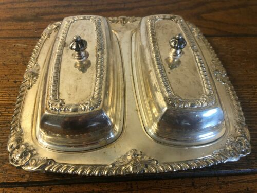 Vintage Silver Silverplated Butter Dish Double