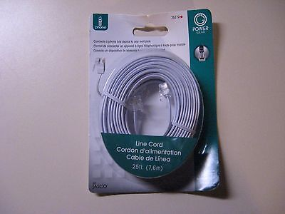 Jasco Line Cord - 2 PHONE LINE CORD BY JASCO - 25 FT - NEW AND SEALED IN ORIGINAL PACKAGES