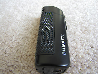 Bugatti CEO Triple Flame Torch Cigar Lighter Fold Out Punch Cutter - Black - New