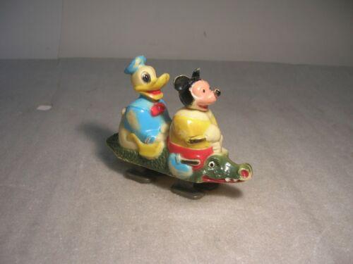 Vintage 1960s Marx Walt Disney Mickey Mouse Donald Duck Alligator Ramp Walker !!