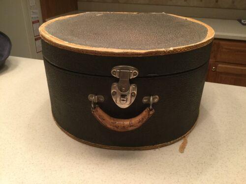 Ladies Vintage Hat Box Luggage Box With Metal Lock Sturdy Cardboard Used Black
