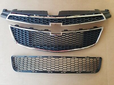 3PC Set 2011-2014 CHEVY CRUZE w/ RS PKG Front Bumper Upper & Lower Grille NEW