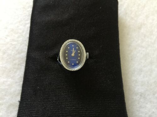 Vintage Russian Made 17 Jewels Mechanical Wind Up Ring Watch with a Blue Dial