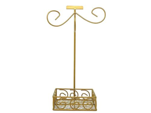 Gold Metal Multiple Ornament Display Stand With Bottom Basket