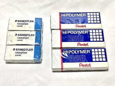 3x Pentel Hi-polymer Eraser Rectangular Medium White. 3x Staedtler Rasoplast Lot