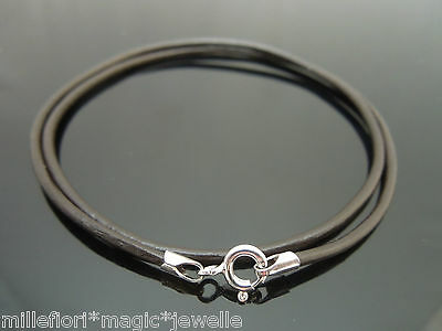 2mm Dark Brown Leather & Sterling Silver Necklace Or Wristband 16