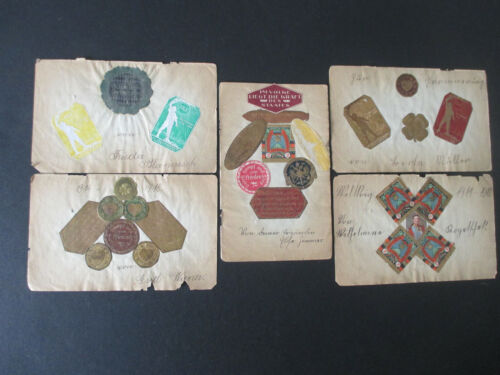 GERMANY WWI Era Stickers/Labels/Poster-Stamps on Small Pages incl. Propaganda