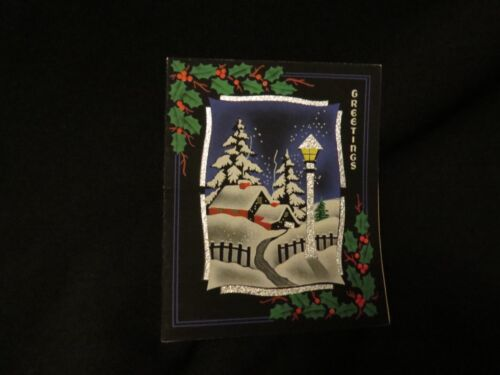 Vintage art deco Christmas village  greeting card 1920s