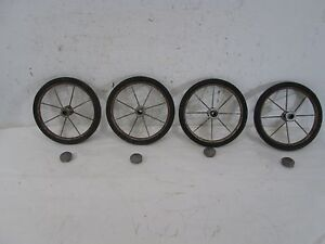 4 Vintage Wire & Rubber Baby Buggy Wheels & Hub Covers 7
