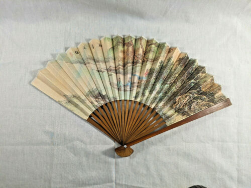 Vintage Paper and Wood Japanese Folding Hand Held Fan