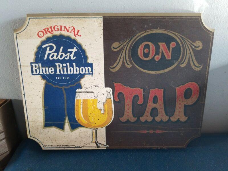 (VTG) 1960s Pabst Blue Ribbon Beer Sign On Tap Wooden PBR Bar Man Cave game room
