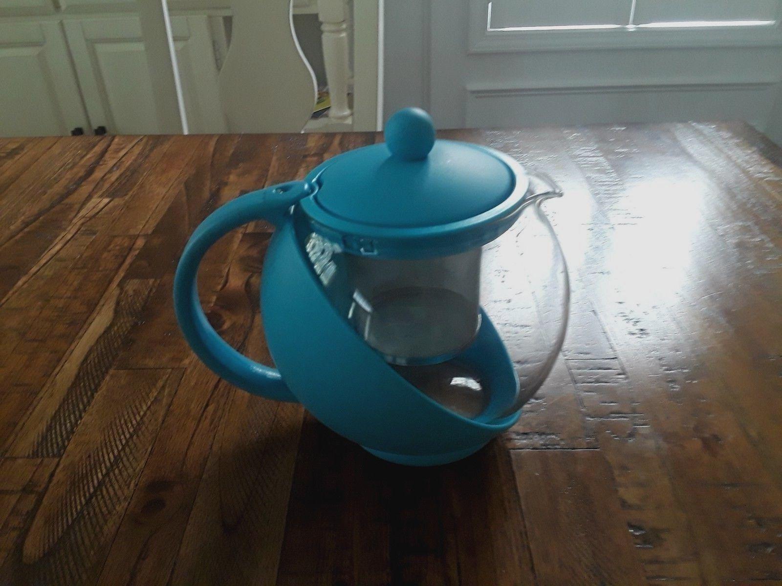 Glass Teapot Personal Tea Kettle QVC 6 Cup 48 Ounces Blue Br