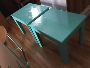 Blue green side table set of 2
