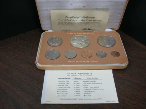 Franklin-Mint ~ 1976 Cook Islands Proof Set ~ 8 Coins ~ .500 Silver $5