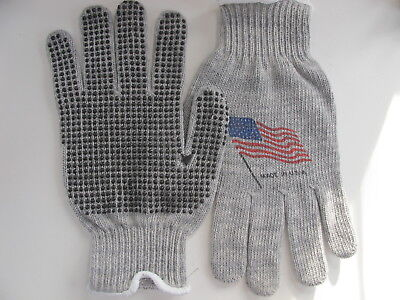 Cotton String Knit Work Gloves With Single Side Pvc Dots Excellent Grip Usa Med