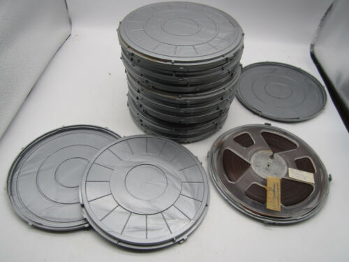 """10 Magnetic Reel to Reel Tapes 1/4"""" 7"""" Pre-Recorded w/ 11 Hard Cases Some Scotch"""