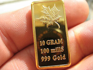 10 Gram GOLD MAPLE BULLION BAR 100 Mills .999 24k Gold Layered NEW