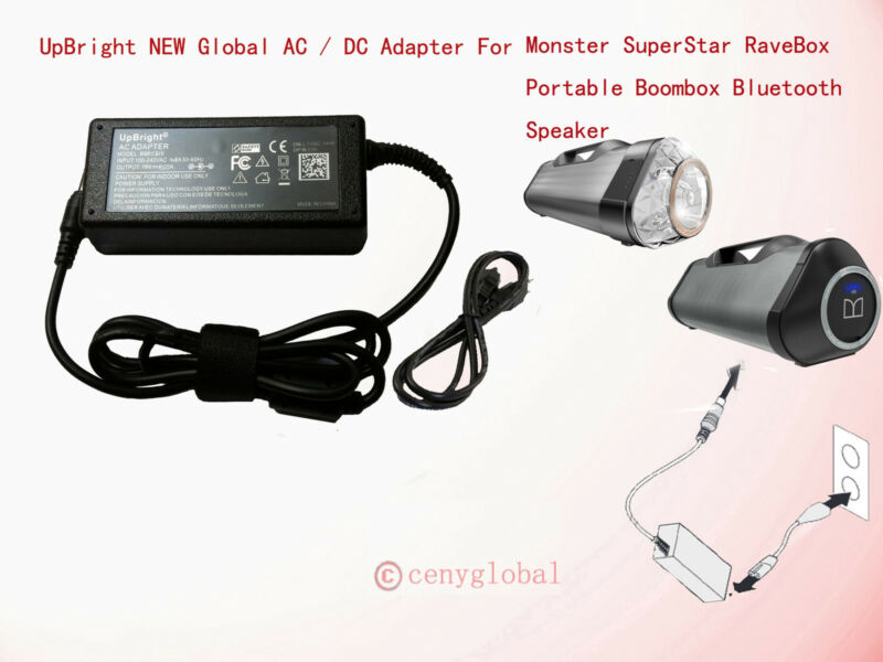 18V AC Adapter For Monster SuperStar Blaster Splashproof Bluetooth Speaker Power