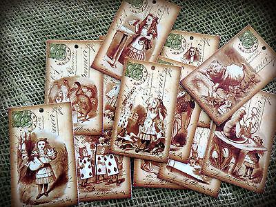 12 Alice in Wonderland Vintage Post Card Style Mini Gift Tags (Vintage Post Card)