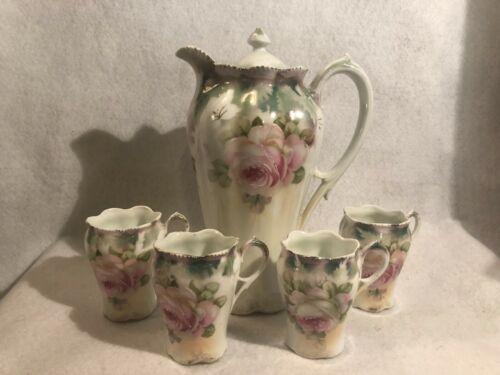 Antique Hot Chocolate Set Chocolate Pot & 4 Cups Bavaria Beautiful Rose Motif