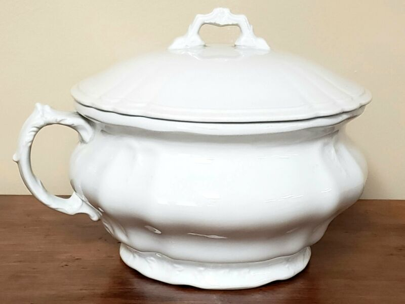 Antique White Ironstone Lidded Chamber Pot, Johnson Brothers England ~ Early 190