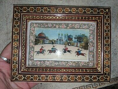 Persian Khatam Inlaid Frame Miniature Hand Paint Micro Mosaic Marquetry 6 5/8""