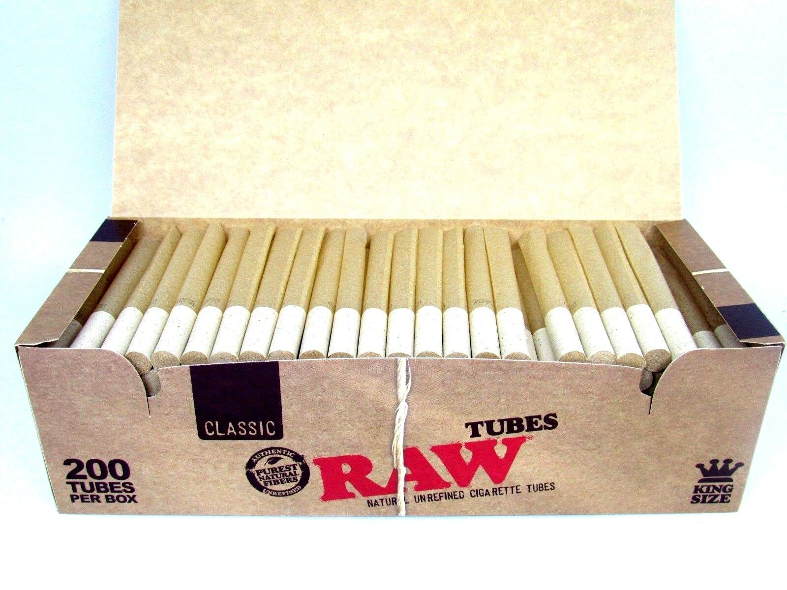 Raw King Size Empty Cigarette Tubes 200 Count Rolling Roll Authentic RYO NEW