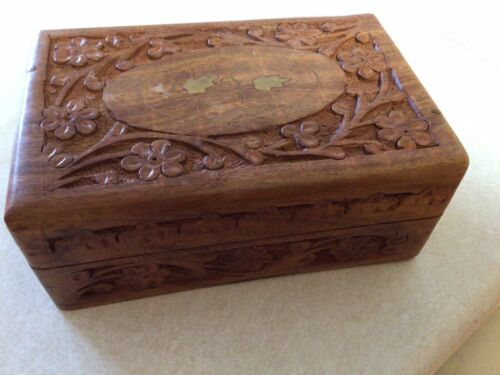 Vintage Hand Carved Wooden Inlaid Floral Jewelry Box India 6x2.5x4 - $12.00