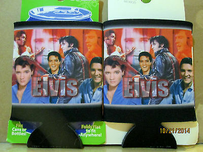 ELVIS PRESLEY COLLAGE RED DRINK CAN COOLIE HUGGIE FOLDS FLAT NEW