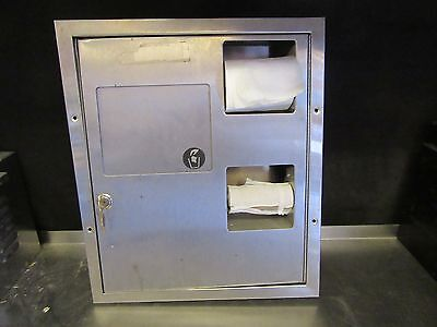 A39 DUAL SIDED SS BATHROOM TOILET PAPER DISPENSER W/ TRASH/TAMPON RECEPTICLE