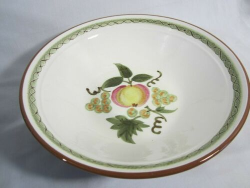 "Apple Delight 8 3/4"" Vegetable Serving Bowl Apple Grapes Green Incised Border"