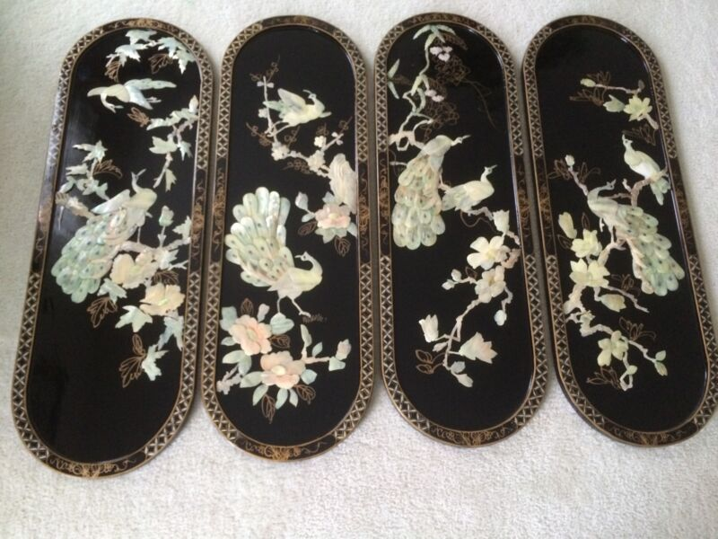 Set of 4 Oriental Mother of Pearl Large Wall Hanging Pictures
