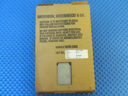 "New Anderson, Greenwood and Co Rupture Disc FA 3"" 50 PSIG Free Shipping"