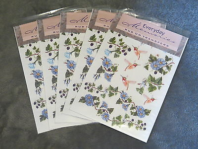 5 PACKS EVERYDAY MEMORIES RUB ON TRANSFER, HUMMING BIRDS AND IVY EMBELLISHMENT