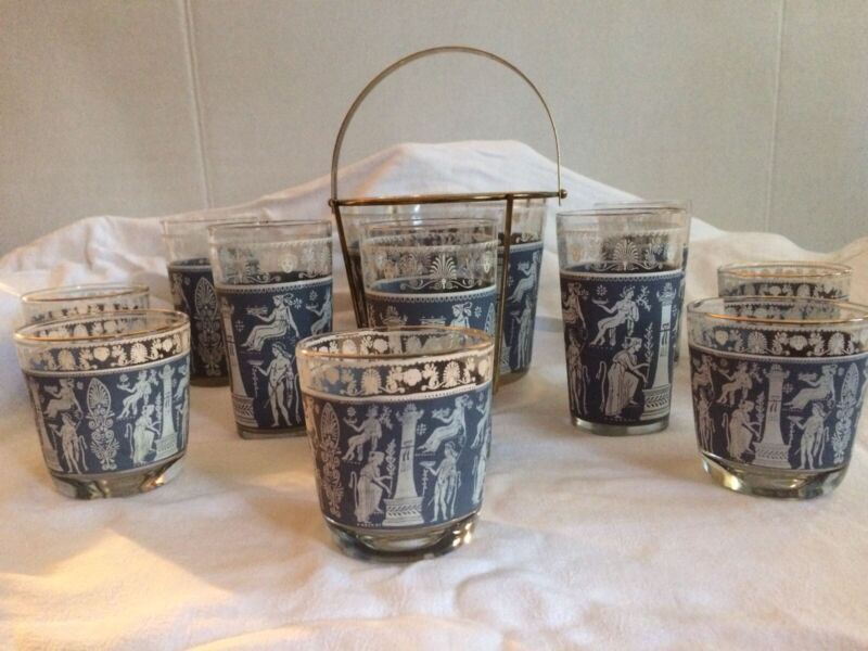 Vintage Corinthian Blue Greek Hellenic Ice Bucket+10 Glasses by Jeanette Glass