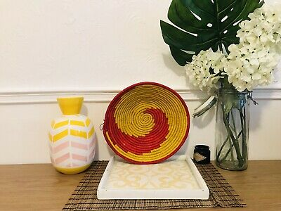 African/Ugandan Hand woven Multi-Purpose FRUIT/DISPLAY/HANGING Basket Yellow Red Multi Purpose Display