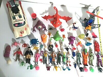 HUGE VINTAGE LOT OF 57 REAL GHOSTBUSTERS FIGURES, VEHICLES, GHOSTS&WEAPONS 1980s
