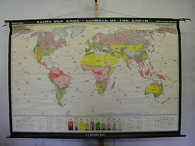 Schulwandkarte Beautiful Old Klimakarte World Map 210x142 Vintage Climate 1968