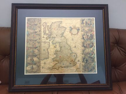 Framed gold foil world map art gumtree australia victoria park joannes jansson 1646 gold foil map of the british isles gumiabroncs Image collections