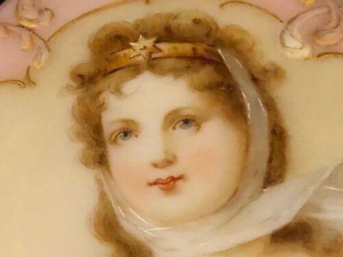 c 1850 Large Antique Victorian Mt. Washington Glass Trinket portrait Box