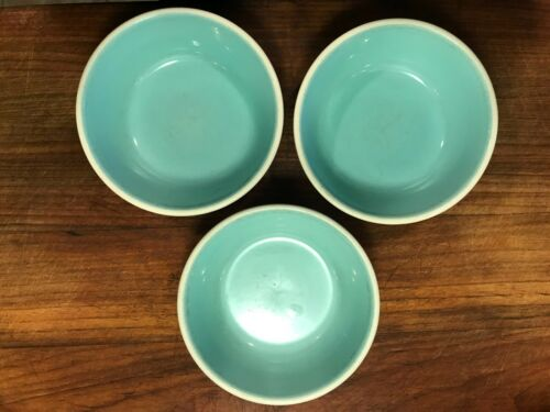 Set of 3 Vintage TST Taylor Smith Taylor Chateau Buffet Aqua and White Bowls 6""