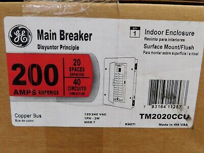 Ge 200-amp 20-space 40-circuit Copper-bus Home Indoor Main-breaker-box Panel Vn
